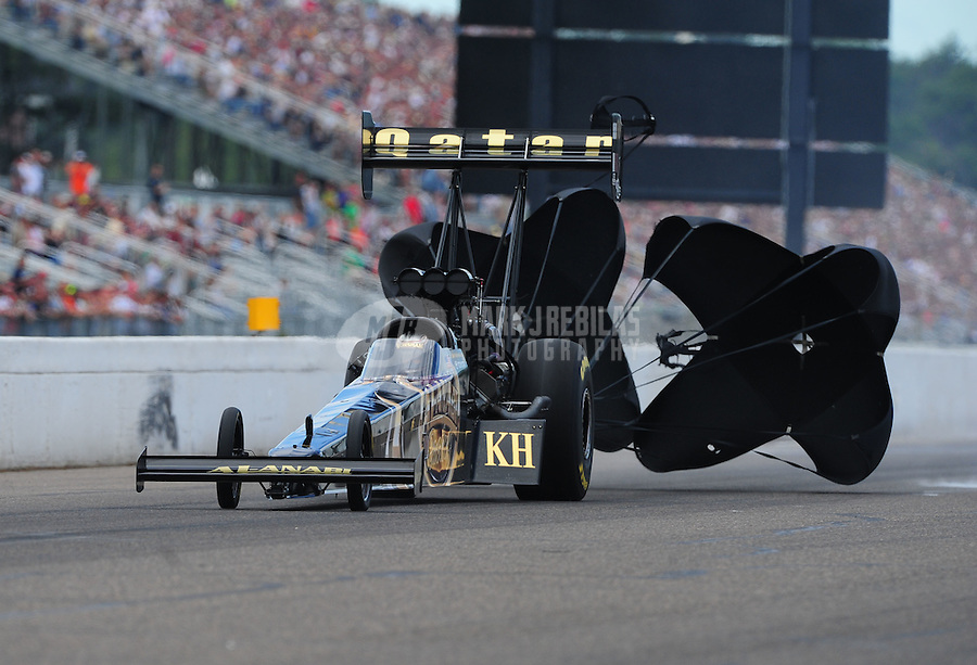 Aug. 20, 2011; Brainerd, MN, USA: NHRA top fuel dragster driver Del Worsham during qualifying for the Lucas Oil Nationals at Brainerd International Raceway. Mandatory Credit: Mark J. Rebilas-