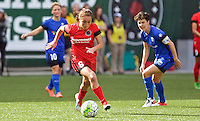 Portland, OR - Sunday, May 29, 2016: Portland Thorns FC midfielder Meleana Shim (6) is watched by Seattle Reign FC midfielder Keelin Winters (11). The Portland Thorns FC and the Seattle Reign FC played to a 0-0 tie during a regular season National Women's Soccer League (NWSL) match at Providence Park.