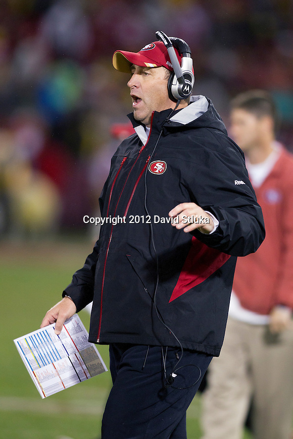 San Francisco 49ers assistant coach Geep Chryst looks on during an NFC Championship NFL football game against the New York Giants on January 22, 2012 in San Francisco, California. The Giants won 20-17 in overtime. (AP Photo/David Stluka)