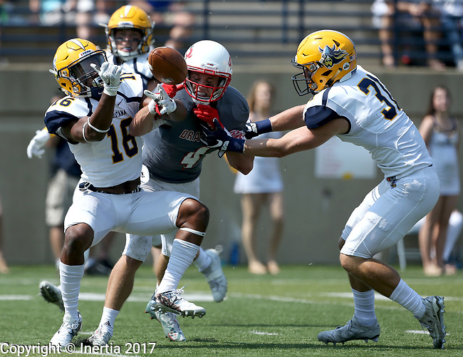 SIOUX FALLS, SD - SEPTEMBER 2: Hunter Braaten #4 from the University of Minnesota Morehead has the ball knocked away by Keyvion Mayhan #16 and Trevor Naasz #31 from Augustana in the first half of their game Saturday afternoon at Augustana University. (Photo by Dave Eggen/Inertia)
