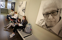 NWA Democrat-Gazette/DAVID GOTTSCHALK Catherine Beachner (right), a sophomore at the University of Arkansas, and student in the Eleanor Mann School of Nursing, studies Thursday, February 22, 2018, with other students for a test in the hallway of the Eppley Center of Health Professions on the campus in Fayetteville. A large demand for nurses continues to exist in northwest Arkansas.