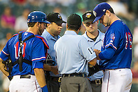 Round Rock Express pitcher Phil Irwin (56) is checked for a substance on his arm by umpires Brian Reilly, Alex Ortiz and Jordan Ferrell during the Pacific Coast League baseball game against the Sacramento River Cats on June 19, 2014 at the Dell Diamond in Round Rock, Texas. The Express defeated the River Cats 7-1. (Andrew Woolley/Four Seam Images)