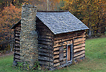 Cabin along the Blue Ridge Parkway, North Carolina, USA
