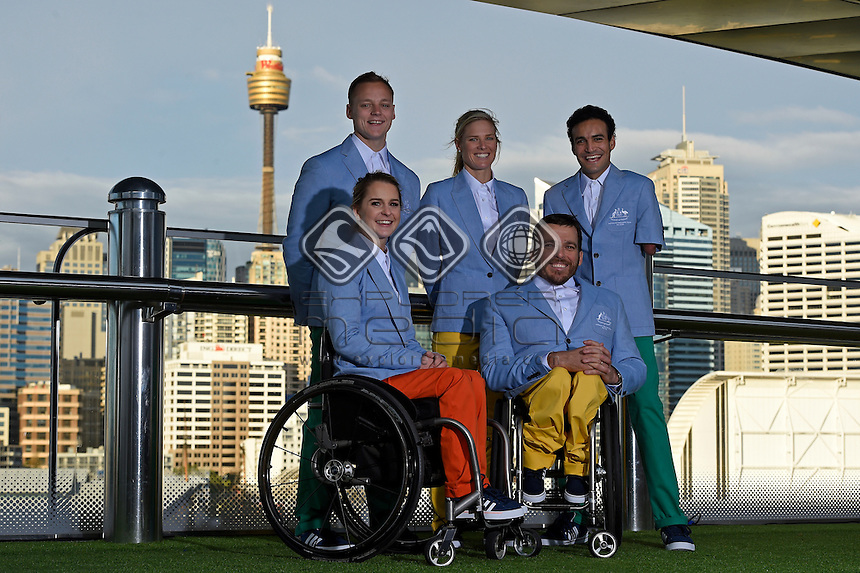 RM Williams Opening Ceremony outfit (L-R) Emma Booth, Jayden Sawyer, Kate Doughty, Kurt Fernley and Ahmed Kelly<br /> 2016 APC RIO Uniform Launch with the city of Sydney as the backdrop shot from the Star Casino<br /> Australian Paralympic Committee<br /> Star Casino / Sydney / NSW<br /> Monday 6 June 2016<br /> &copy; Sport the library / Jeff Crow