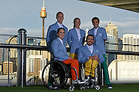 RM Williams Opening Ceremony outfit (L-R) Emma Booth, Jayden Sawyer, Kate Doughty, Kurt Fernley and Ahmed Kelly<br /> 2016 APC RIO Uniform Launch with the city of Sydney as the backdrop shot from the Star Casino<br /> Australian Paralympic Committee<br /> Star Casino / Sydney / NSW<br /> Monday 6 June 2016<br /> © Sport the library / Jeff Crow