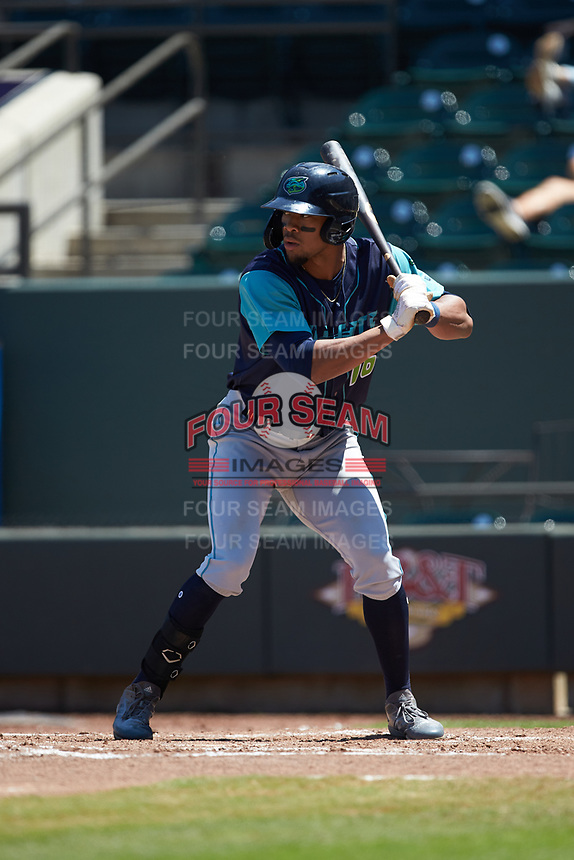 Will Benson (16) of the Lynchburg Hillcats at bat against the Winston-Salem Rayados at BB&T Ballpark on June 23, 2019 in Winston-Salem, North Carolina. The Hillcats defeated the Rayados 12-9 in 11 innings. (Brian Westerholt/Four Seam Images)