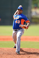 New York Mets pitcher Julian Hilario (43) during a minor league spring training game against the Miami Marlins on March 28, 2014 at Roger Dean Stadium in Jupiter, Florida.  (Mike Janes/Four Seam Images)