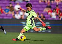 ORLANDO, FL - MARCH 05: Ayaka Yamashita #18 of Japan punts the ball during a game between Spain and Japan at Exploria Stadium on March 05, 2020 in Orlando, Florida.