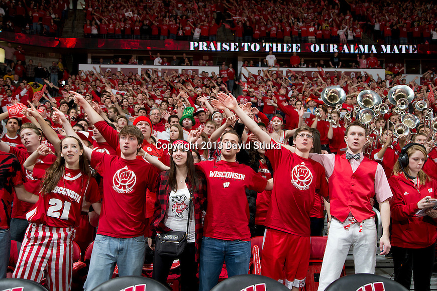 "Wisconsin Badgers fans sing ""Varsity"" during a Big Ten Conference NCAA college basketball game against the Michigan Wolverines Saturday, February 9, 2013, in Madison, Wis. The Badgers won 65-62 (OT). (Photo by David Stluka)"
