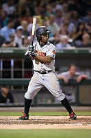 Gift Ngoepe (17) of the Indianapolis Indians at bat against the Charlotte Knights at BB&T BallPark on June 16, 2017 in Charlotte, North Carolina.  The Knights defeated the Indians 12-4.  (Brian Westerholt/Four Seam Images)