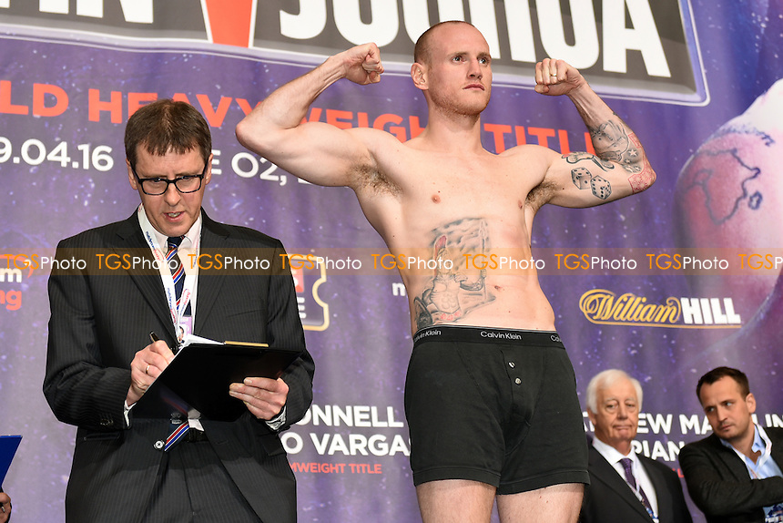 George Groves during the Anthony Joshua vs Charles Martin Weigh-In at the O2 Arena on 8th April 2016