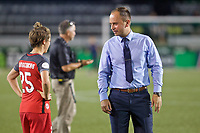 Portland, OR - Saturday July 22, 2017: Meghan Klingenberg, Mark Parsons after a regular season National Women's Soccer League (NWSL) match between the Portland Thorns FC and the Washington Spirit at Providence Park.