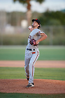 Elijah McCormack during the WWBA World Championship at the Roger Dean Complex on October 18, 2018 in Jupiter, Florida.  Elijah McCormack is a right handed pitcher from Coppell, Texas who attends Coppell High School.  (Mike Janes/Four Seam Images)