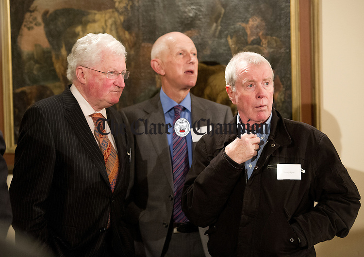 Gerry Quinlan, Eddie Gibbons and Tommy Ryan having a look around one of the old dorms during the reunion for the leaving cert class of 1962 at St Flannan's College, Ennis. Photograph by John Kelly.