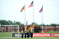 Boyds, MD - Saturday August 12, 2017: Presentation of colors during a regular season National Women's Soccer League (NWSL) match between the Washington Spirit and The Boston Breakers at Maureen Hendricks Field, Maryland SoccerPlex.