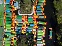 Trajineras (boats) in  Xochimilco, Mexico City, Mexico