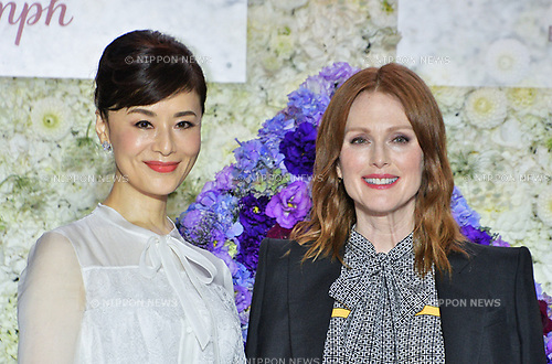 """Actress Julianne Moore(R) and Mao Daichi attend the """"Florale by Triumph Lingerie Collection"""" launch event at the Aoyama Geihinkan in Tokyo, Japan on September 27, 2018."""