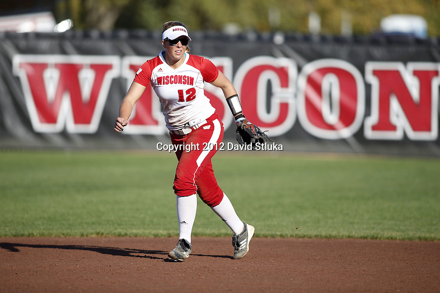 Wisconsin Badgers Michelle Mueller (12) during an NCAA women's softball game against the Green Bay Phoenix Saturday, September 29, 2012 in Madison, Wis. (Photo by David Stluka)