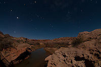 Salt Wash Under Stars at Night, Arches National Park, Utah, US