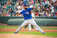 Iowa Cubs starting pitcher Carlos Pimentel (27) delivers a pitch to the plate against the Salt Lake Bees in Pacific Coast League action at Smith's Ballpark on August 20, 2015 in Salt Lake City, Utah. The Cubs defeated the Bees 13-2. (Stephen Smith/Four Seam Images)