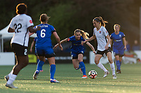 Seattle, WA - Saturday April 15, 2017: Elli Reed, Sarah Killion during a regular season National Women's Soccer League (NWSL) match between the Seattle Reign FC and Sky Blue FC at Memorial Stadium.