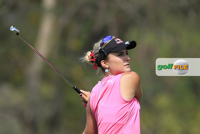 Lexi Thompson (USA) on the 12th tee during Round 1 of the Honda LPGA Thailand on Thursday 23rd February 2017.<br /> Picture:  Thos Caffrey / Golffile