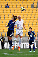Japan&rsquo;s Rumi Utsugi and Ferns&rsquo; Hannah Wilkinson in action during the  International Football - Football Ferns v Japan  at Westpac Stadium, Wellington, New Zealand on Sunday 10 June 2018.<br /> Photo by Masanori Udagawa. <br /> www.photowellington.photoshelter.com