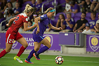 Orlando, FL - Tuesday August 08, 2017: Alyssa Kleiner, Danica Evans during a regular season National Women's Soccer League (NWSL) match between the Orlando Pride and the Chicago Red Stars at Orlando City Stadium.