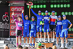 Quick-Step Floors lead the team classification after Stage 18 of the 2018 Giro d'Italia, running 196km from Abbiategrasso to Prato Nevoso, Italy. 24th May 2018.<br /> Picture: LaPresse/Gian Mattia D'Alberto | Cyclefile<br /> <br /> <br /> All photos usage must carry mandatory copyright credit (&copy; Cyclefile | LaPresse/Gian Mattia D'Alberto)