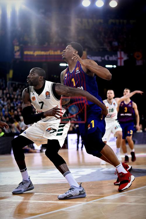 Turkish Airlines Euroleague 2018/2019. <br /> Regular Season-Round 18.<br /> FC Barcelona Lassa vs Panathinaikos Opap Athens: 79-68.<br /> Stephane Lasme vs Kevin Seraphin.