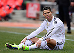 Real Madrid's Portuguese forward Cristiano Ronaldo gestures during the Spanish league football match Club Atletico de Madrid vs Real Madrid CF at the Vicente Calderon stadium in Madrid on February 7, 2015.          PHOTOCALL3000/ DP