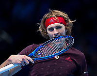 Alexander Zverev of Germany (3) in action against Marin Cilic of Croatia (5) in their Group Boris Becker match today<br /> <br /> Photographer Ashley Western/CameraSport<br /> <br /> International Tennis - Barclays ATP World Tour Finals - O2 Arena - London - Day 1 - Sunday 12th November 2017<br /> <br /> World Copyright &not;&copy; 2017 CameraSport. All rights reserved. 43 Linden Ave. Countesthorpe. Leicester. England. LE8 5PG - Tel: +44 (0) 116 277 4147 - admin@camerasport.com - www.camerasport.com