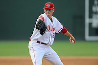Pitcher Jake Drehoff (29) of the Greenville Drive delivers a pitch in a game against the Charleston RiverDogs on Monday, June 29, 2015, at Fluor Field at the West End in Greenville, South Carolina. Greenville won, 4-2. (Tom Priddy/Four Seam Images)