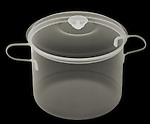 X-ray image of a lidded big pot (color on black) by Jim Wehtje, specialist in x-ray art and design images.