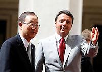 Il Presidente del Consiglio Matteo Renzi accoglie il Segretario Generale delle Nazioni Unite Ban Ki-moon, a sinistra, a Palazzo Chigi, Roma, 7 maggio 2014.<br /> Italian Premier Matteo Renzi welcomes UN Secretary-General Ban Ki-moon, left, at Chigi Palace, Rome, 7 May 2014.<br /> UPDATE IMAGES PRESS/Riccardo De Luca