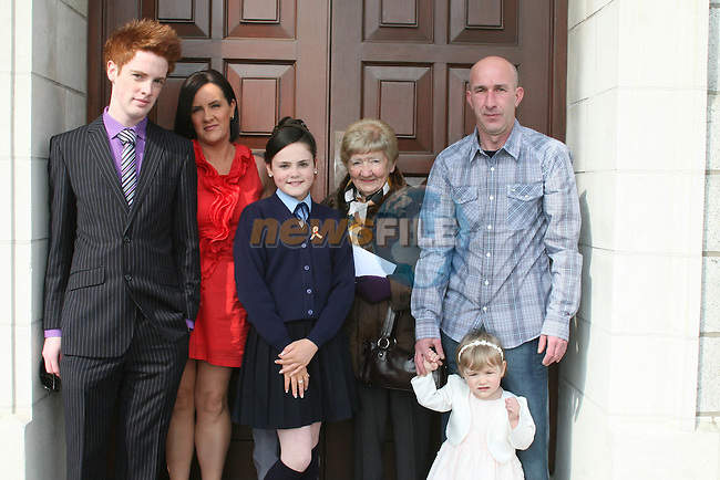 Chloe Condron and family at the Ballymakenny NS Confirmation...Photo NEWSFILE/Jenny Matthews.(Photo credit should read Jenny Matthews/NEWSFILE)....This Picture has been sent you under the condtions enclosed by:.Newsfile Ltd..The Studio,.Millmount Abbey,.Drogheda,.Co Meath..Ireland..Tel: +353(0)41-9871240.Fax: +353(0)41-9871260.GSM: +353(0)86-2500958.email: pictures@newsfile.ie.www.newsfile.ie.FTP: 193.120.102.198.