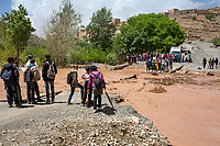 Dades Gorge, Morocco.  Flash Flood Interrupts Passage from Village to Main Roadway.