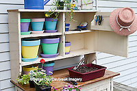 63821-200.14 Potting bench with containers and flowers in spring, Marion Co. IL