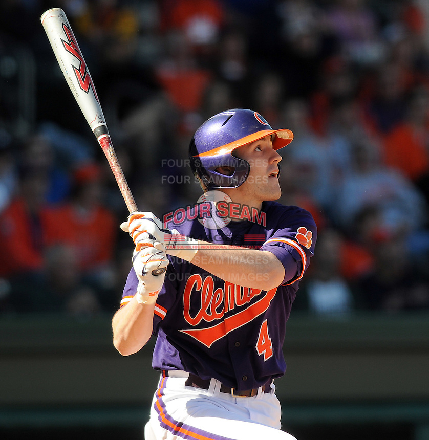 Infielder John Hinson (4) of the Clemson Tigers in a game against the Michigan State Spartans Saturday, Feb. 20, 2010, at Fluor Field at the West End in Greenville, S.C. Photo by: Tom Priddy/Four Seam Images
