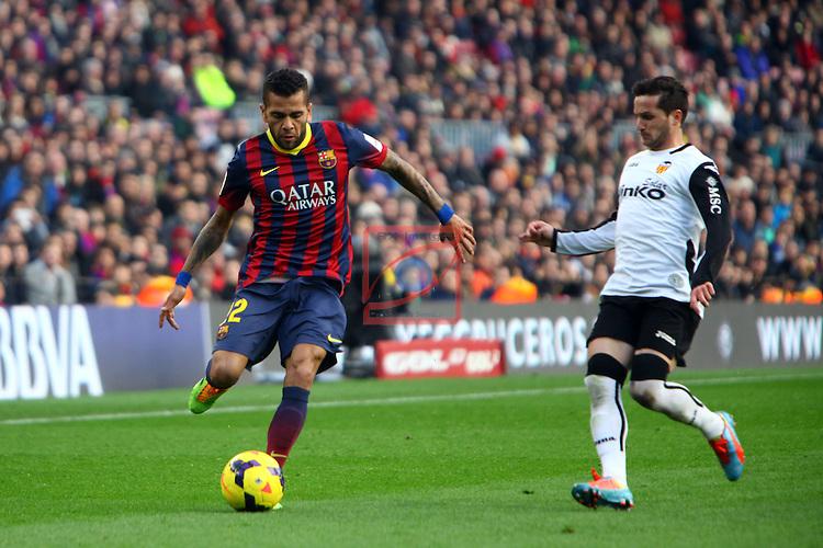 League BBVA 2013/2014 - Game: 22.<br /> FC Barcelona vs Valencia CF: 2-3.<br /> Dani Alves vs Piatti.