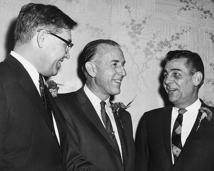 Sen. Lee Metcalf, D-Mont. with party members in 1961. (Photo by CQ Roll Call)