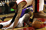 04/08/11--Trailblazers' LaMarcus Aldridge and Gerald Wallace go for a loose ball in Portland's 93-86 win over L.A. at the Rose Garden..Photo by Jaime Valdez..........................................