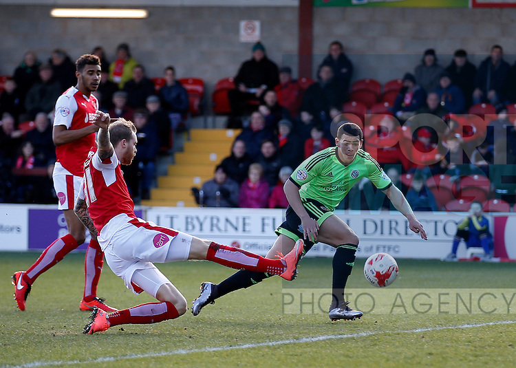 Che Adams of Sheffield Utd goes in to meet a cross - English League One - Fleetwood Town vs Sheffield Utd - Highbury Stadium - Fleetwood - England - 5rd March 2016 - Picture Simon Bellis/Sportimage