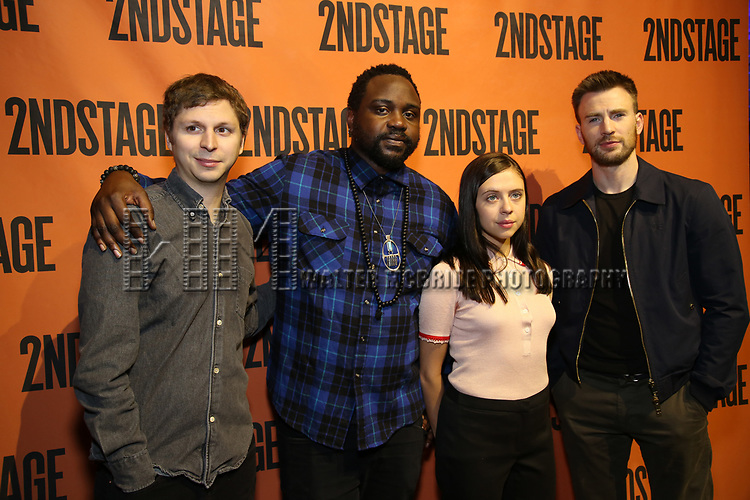 backstage at  the Second Stage Theater Broadway lights up the Hayes Theatre at the Hayes Theartre on February 5, 2018 in New York City.