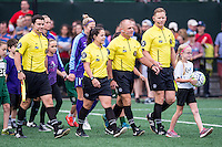 Allston, MA - Sunday July 31, 2016: Jeffrey Skinner, Alexandria White, Leszek Stalmach, Jeremy Weed, ball girl prior to a regular season National Women's Soccer League (NWSL) match between the Boston Breakers and the Orlando Pride at Jordan Field.