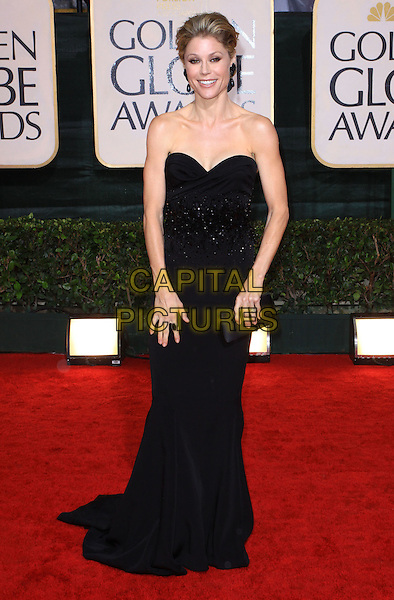 JULIE BOWEN.67th Golden Globe Awards held Beverly Hilton, Beverly Hills, California, USA..January 17th, 2010.globes full length  black dress strapless clutch bag.CAP/ADM/KB.©Kevan Brooks/Admedia/Capital Pictures
