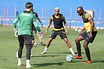 Getafe's Leandro Chichizola, Francisco Portillo, Deyverson Da Silva and Allan Nyom during training session. May 25,2020.(ALTERPHOTOS/Acero)