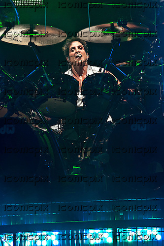 JOURNEY - drummer Deen Castronovo performing live at The San Manuel Amphitheatre in Devore, CA USA - July 21, 2012.  Photo © Kevin Estrada / Iconicpix