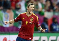 FUSSBALL  EUROPAMEISTERSCHAFT 2012   VORRUNDE Spanien - Irland                     14.06.2012 Fernando Torres (Spanien) bejubelt seinen Treffer zum 3:0