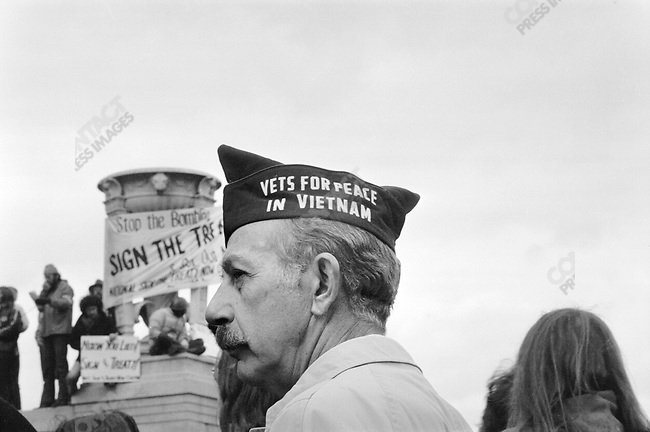 Anti-Vietnam War protests during the inauguration ceremony of President Richard Nixon's second term, Washington D.C., January 20, 1973